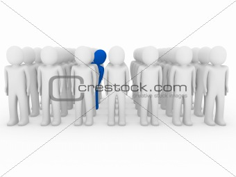 3d human stand crowd blue