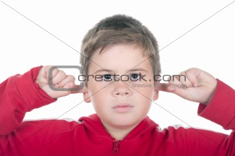 Boy closes ears fingers