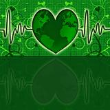 Earth Global Map Green Heart Beat Graph