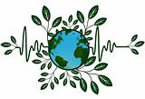Earth Global Map Go Green Heart Beat