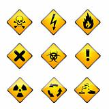 set of warning icons