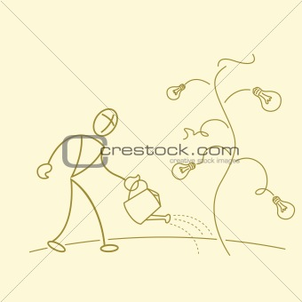 sketchy businessman gardening in bulb tree