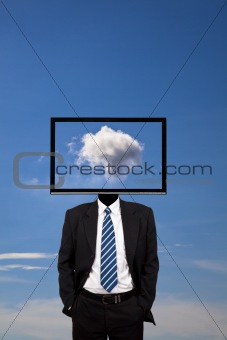 business dreamer with computer monitor