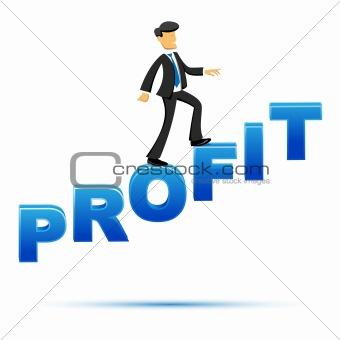 businessman climbing on profit text