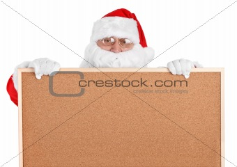 Santa claus and empty bulletin board - close-up
