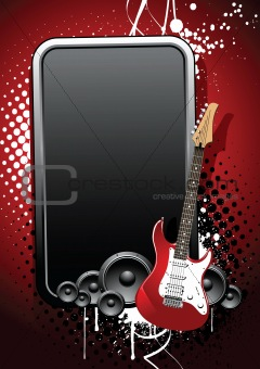 Beautiful realistic guitar, glossy banner on a grunge background