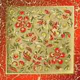 abstract background with cracked red floral ornament