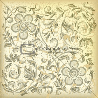 abstract beige background with cracked floral ornament