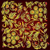 abstract black background with floral ornament