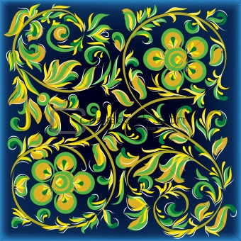 abstract blue background with floral ornament
