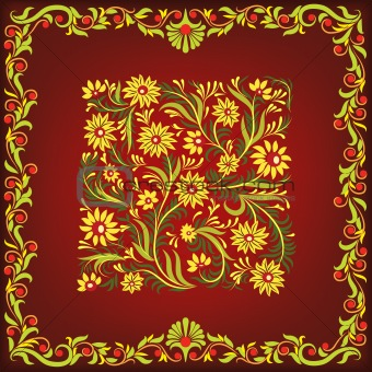 abstract brown background with floral ornament