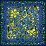 abstract cracked blue background with golden floral ornament