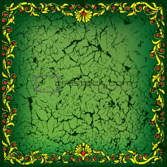 abstract cracked green background with floral ornament