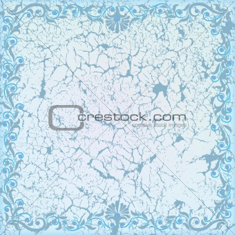 abstract cracked white background with blue floral ornament
