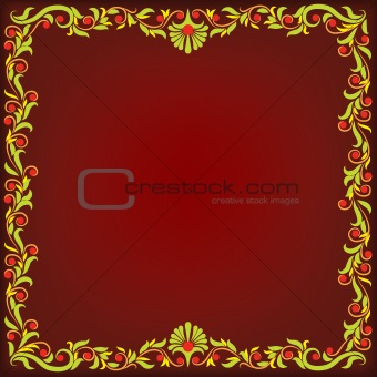 abstract dark red background with floral ornament