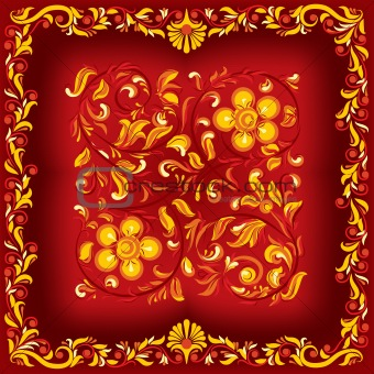 abstract floral ornament on a red background