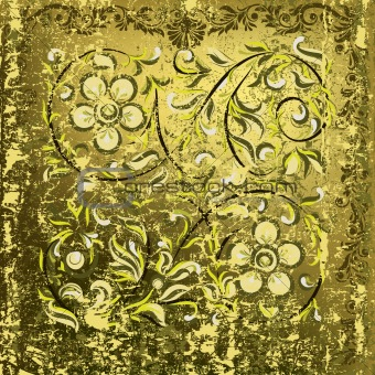 abstract floral ornament on rusty green background