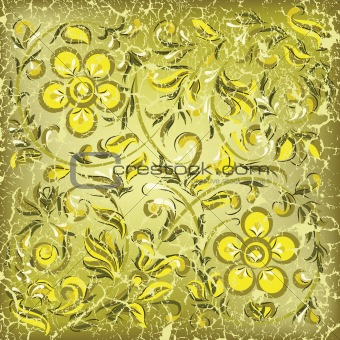 abstract gold background with cracked floral ornament