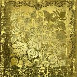 abstract gold floral ornament on rusty green background