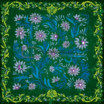 abstract green cracked background with blue floral ornament