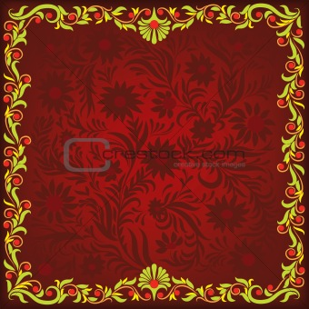 abstract red background with green floral ornament