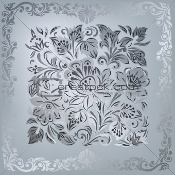 abstract silver floral ornament on grey background