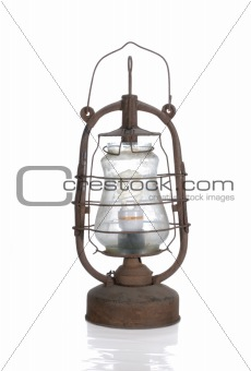 the old dirty kerosene lamp with modern  bulb isolated