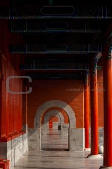 Forbidden City Hallway Beautiful Repetition
