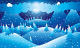 Mountainous night winter scene