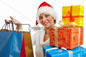Portrait of the young woman with New Year's gifts, it is isolate