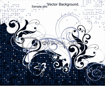 Abstract Floral blue Background. Vector