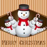 merry christmas card with snow man