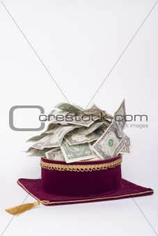 master's cap with a dollars