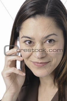 Close up of women holding telephone