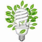 Energy Saving Eco Lightbulb with Green Leaves