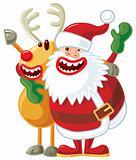 Santa and Rudolph singing