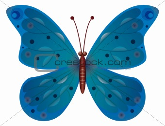 A beautiful blue butterfly isolated. Vector EPS10