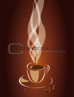 Transparent steam over a cup of coffee. Vector EPS10