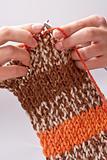 woman's hand knit knitting yarn