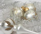 Christmas balls with a tinsel