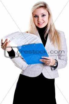 business woman in a jacket with clipboard