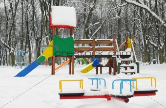 A slide covered with snow
