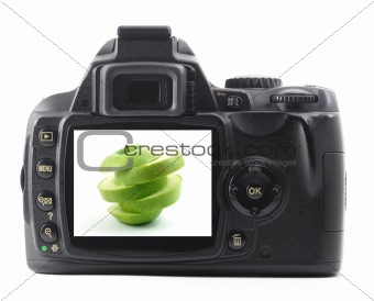 apple fruit in digital camera