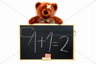 teddy and blackboard