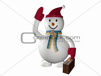3d smiling snow man