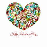 Happy Valentines Day Heart with Colorful Swirls