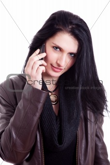 Beautiful woman on the phone, isolated on white background