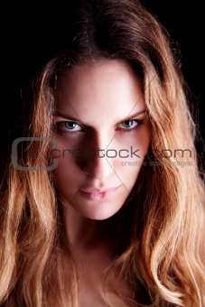 Beautiful Blonde Woman, isolated on black background. Studio shot.