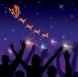 people saluting flying santa