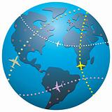 airplane flight paths over earth globe